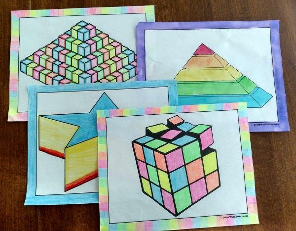 3D coloring #16, Download drawings