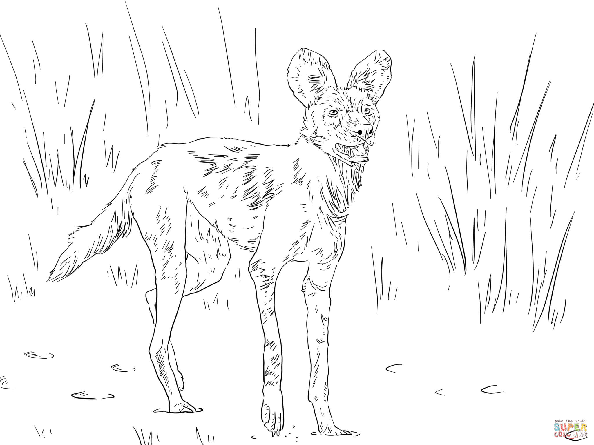 African Wild Dog coloring #11, Download drawings