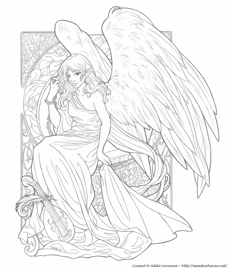 Angel Statue coloring #9, Download drawings