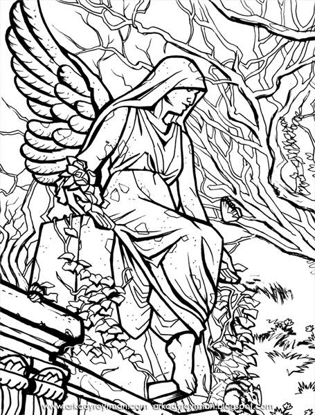 Angel Statue coloring #19, Download drawings