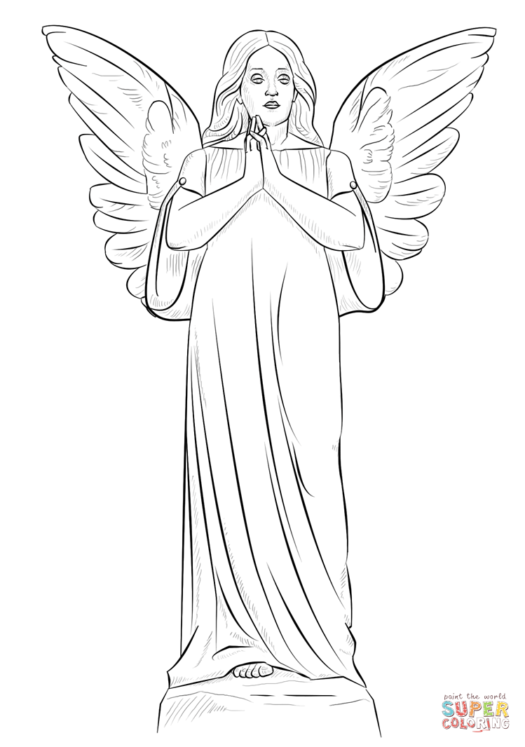 Angel Statue coloring #14, Download drawings