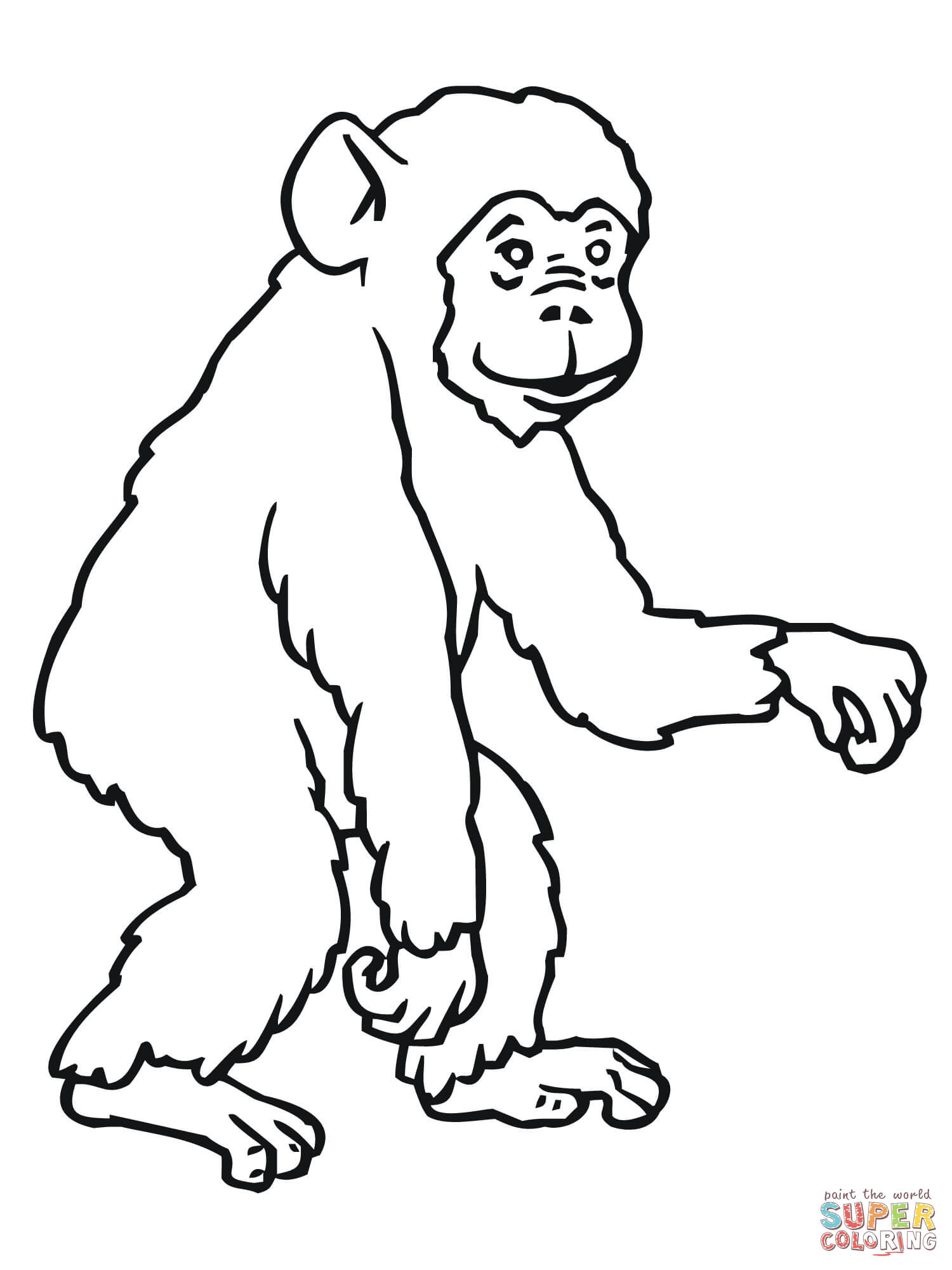 Chimpanzee coloring #16, Download drawings