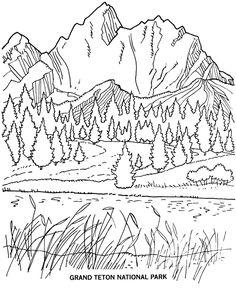 Grand Tetons coloring #5, Download drawings