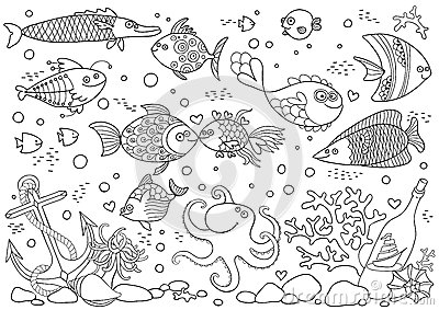 Aquarium coloring #9, Download drawings