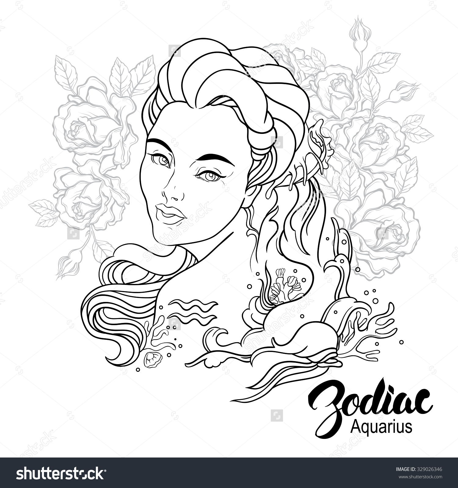 Aquarius (Astrology) coloring #2, Download drawings