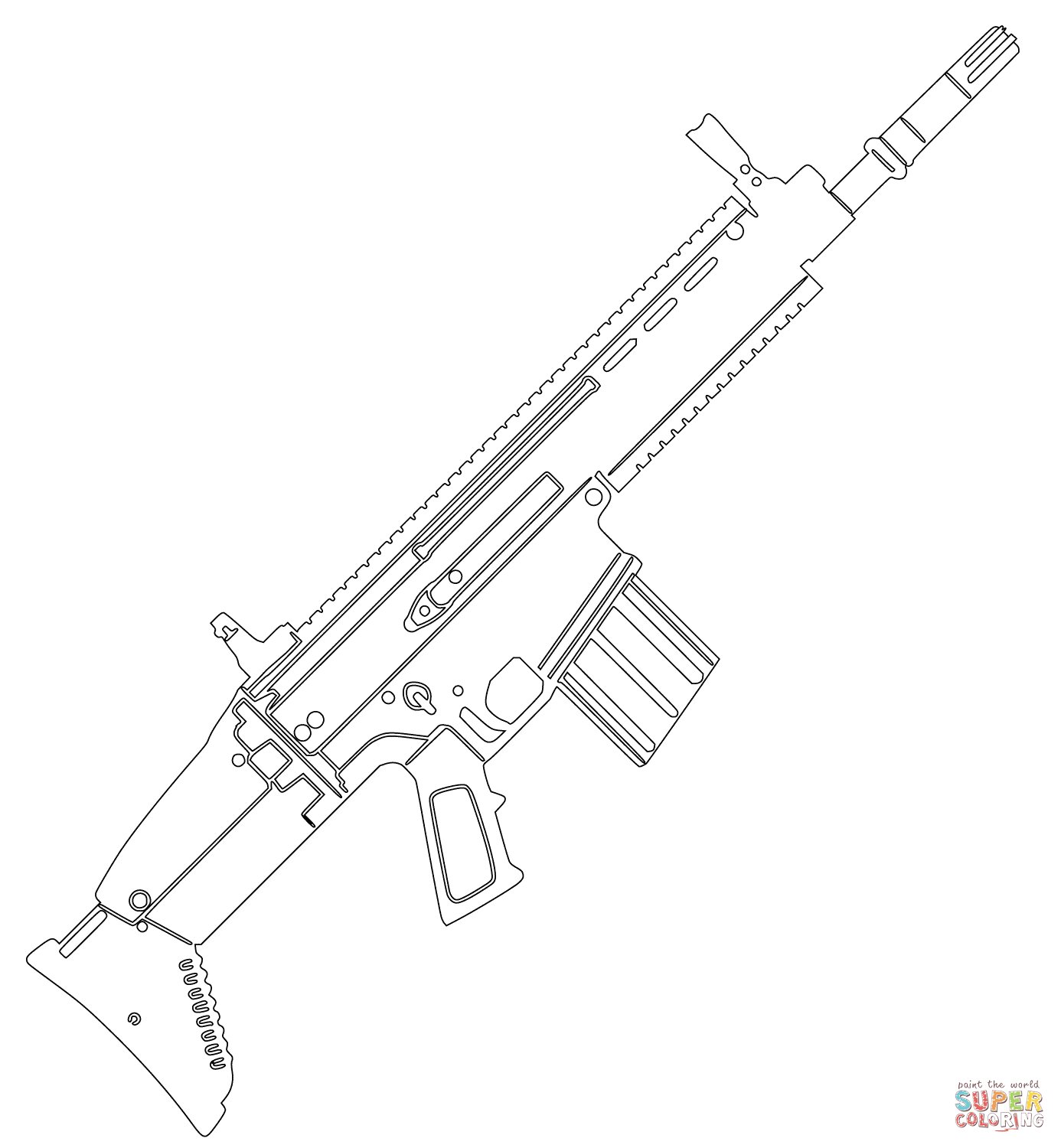 Assault Rifle coloring #14, Download drawings