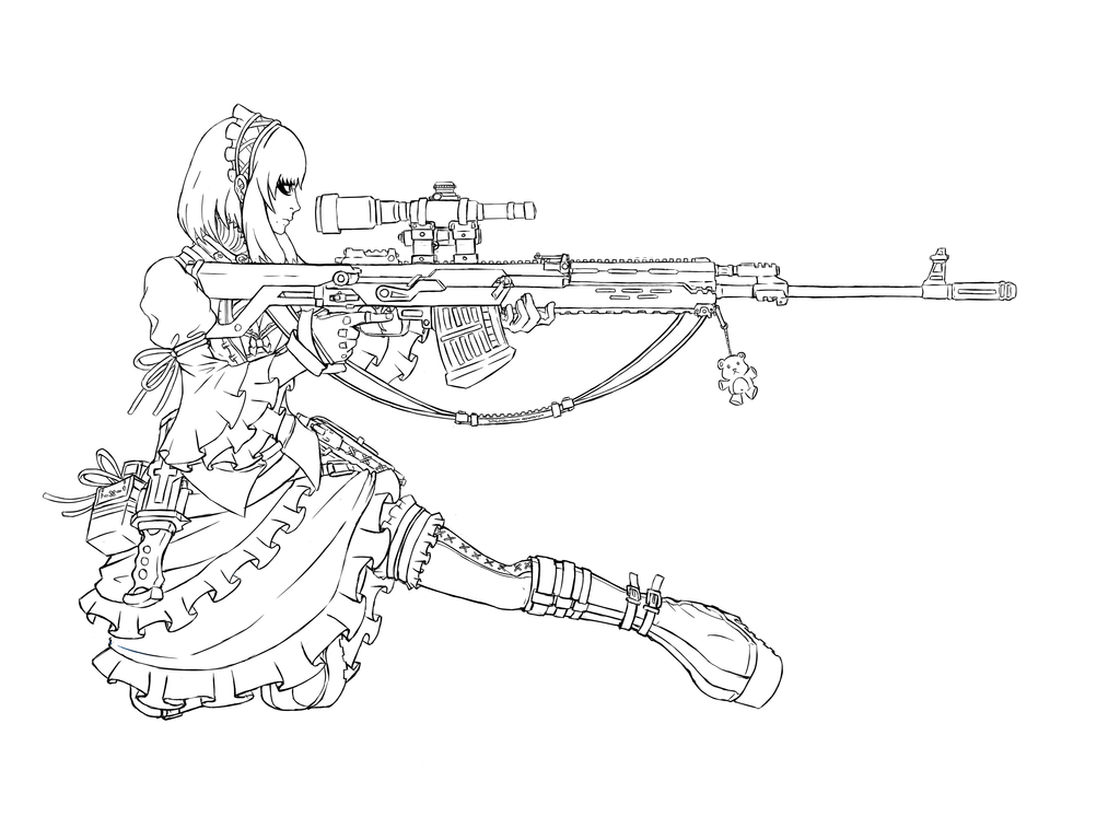 Assault Rifle coloring #2, Download drawings