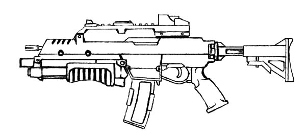 Assault Rifle coloring #3, Download drawings