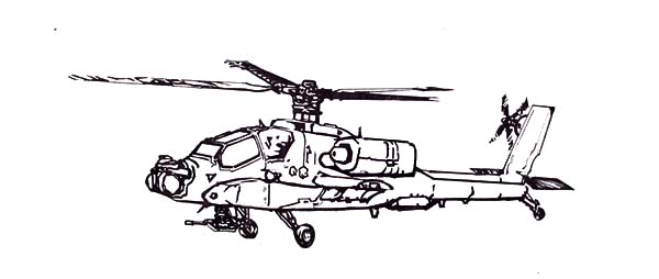 Attack Helicopter coloring #9, Download drawings