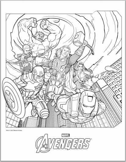 Avengers coloring #6, Download drawings