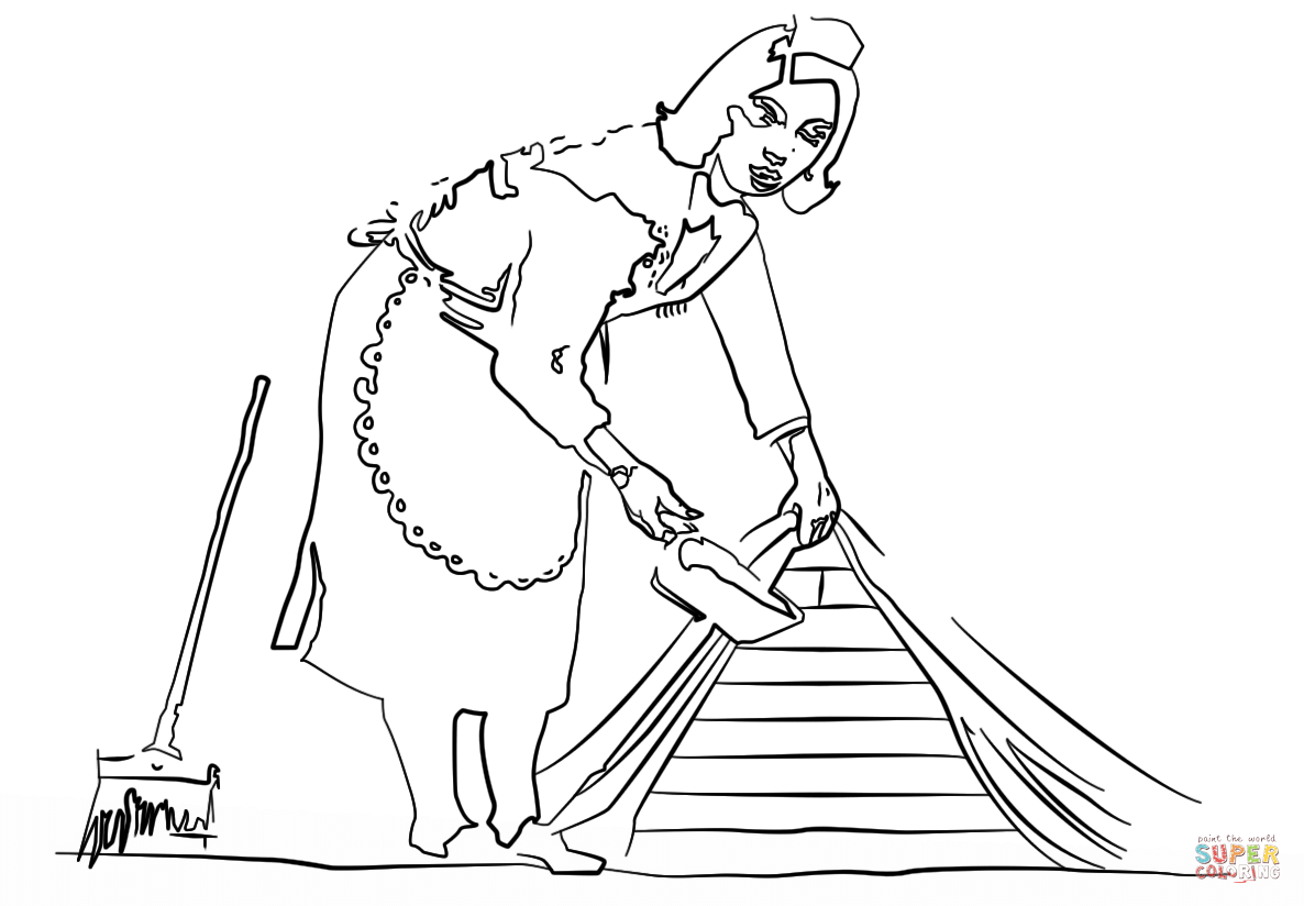 Maid coloring #7, Download drawings