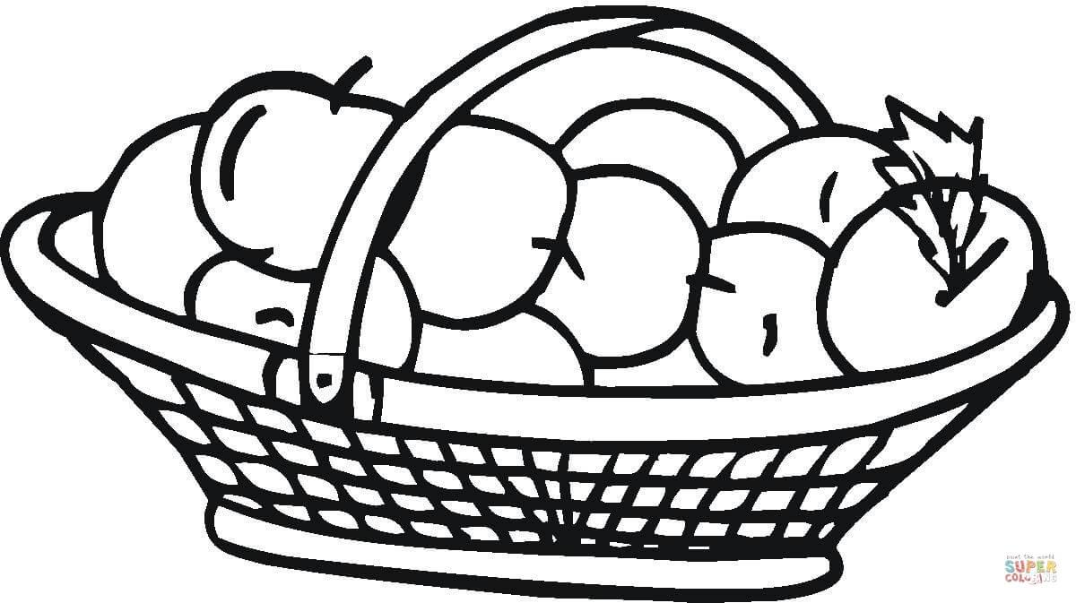 Basket coloring #1, Download drawings