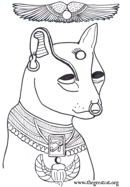 Bastet coloring #2, Download drawings