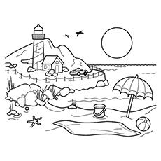 Beach coloring #14, Download drawings
