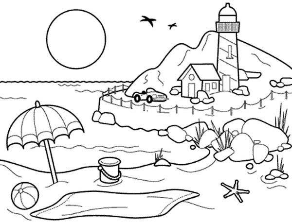 Beach coloring #7, Download drawings
