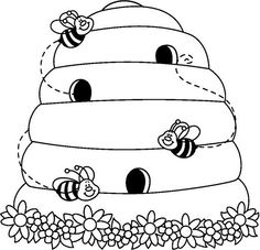 Bee Hive coloring #13, Download drawings