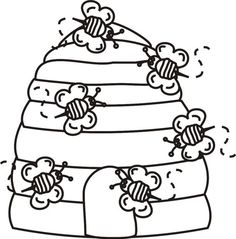 Bee Hive coloring #1, Download drawings
