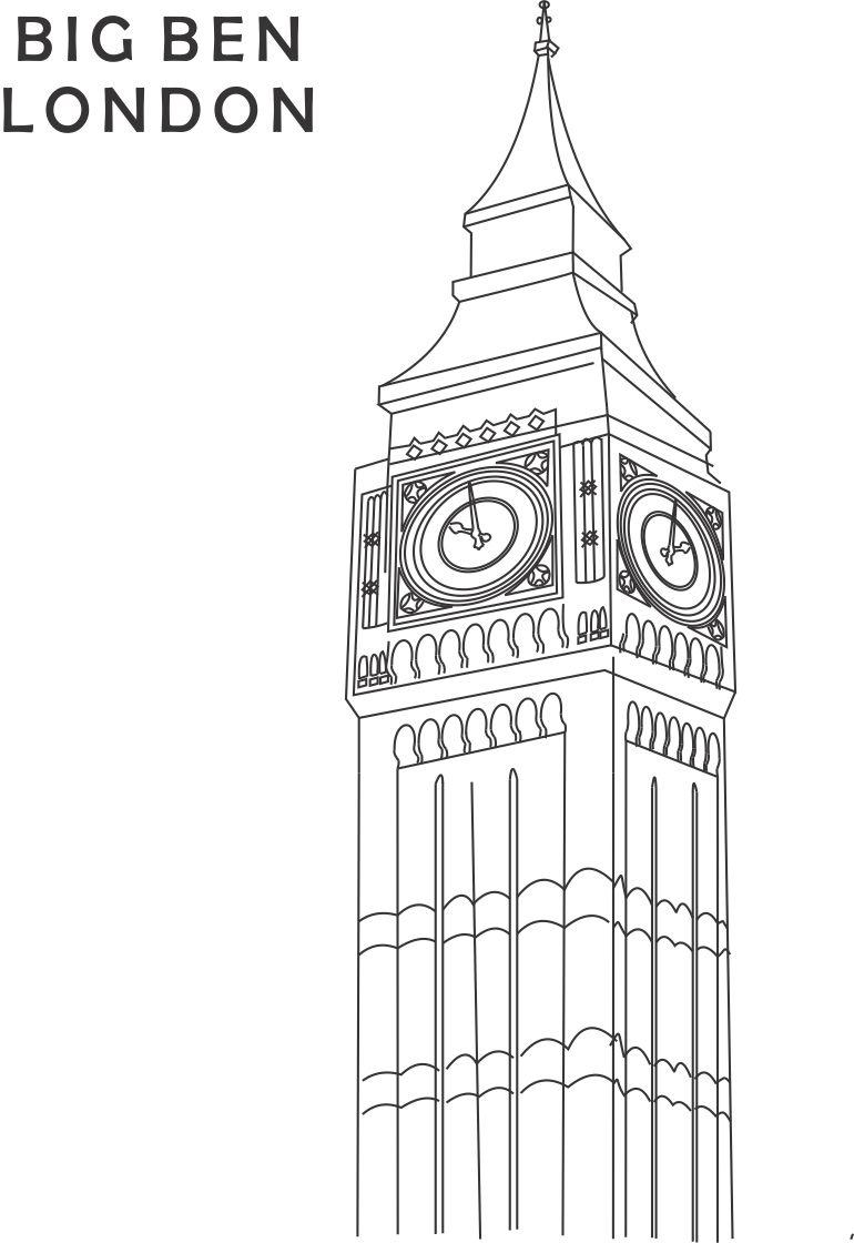 Big Ben coloring #2, Download drawings