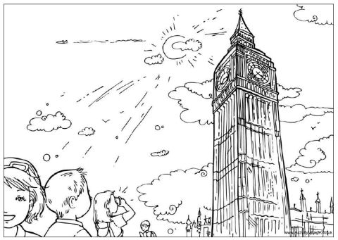 Big Ben coloring #4, Download drawings