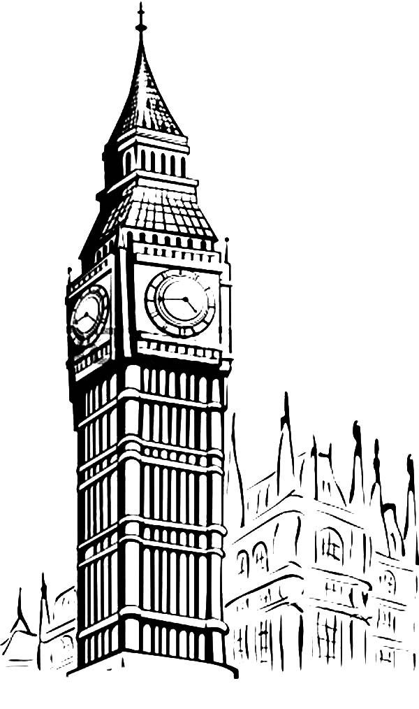Big Ben coloring #8, Download drawings
