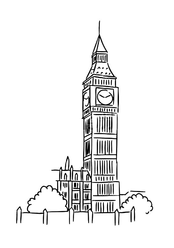 Big Ben coloring #9, Download drawings