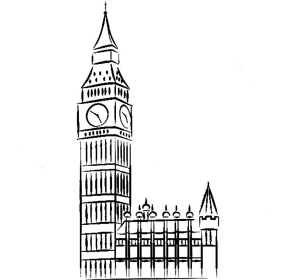 Big Ben coloring #7, Download drawings