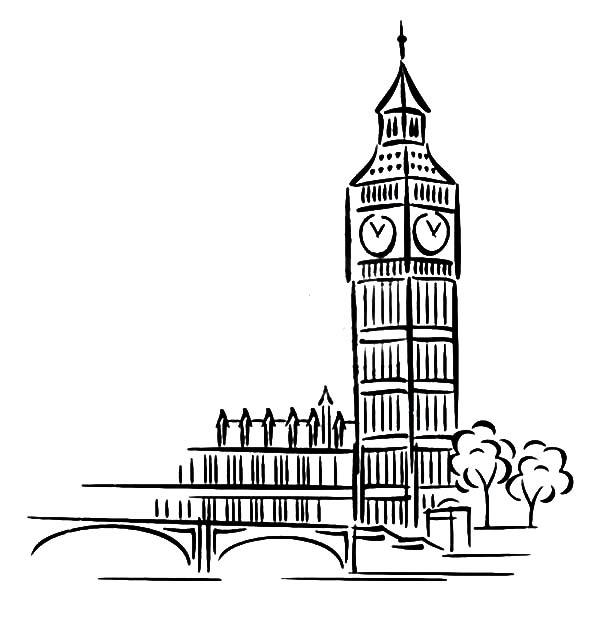 Big Ben coloring #4, Download drawings