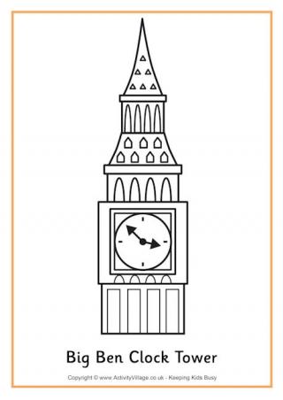 Big Ben coloring #9, Download drawings