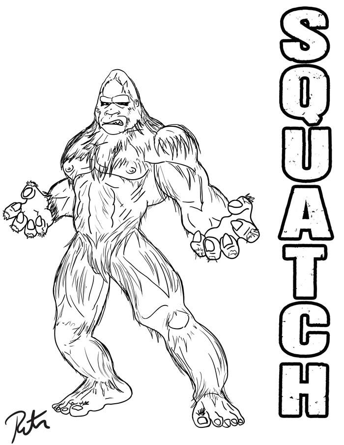 Bigfoot coloring #10, Download drawings