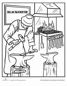 Blacksmith coloring #13, Download drawings