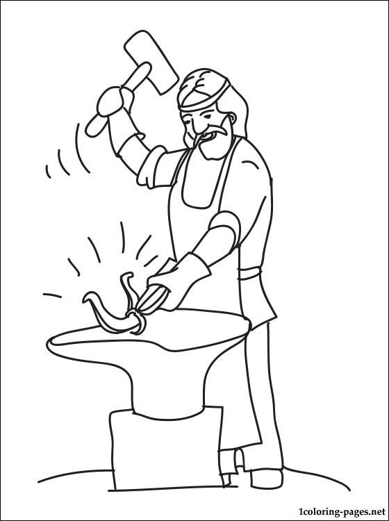 Blacksmith coloring #5, Download drawings