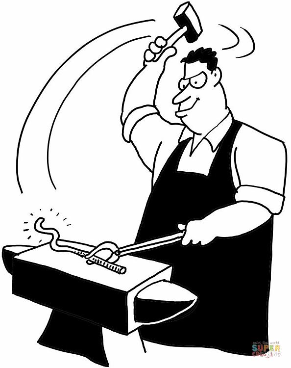Blacksmith coloring #12, Download drawings
