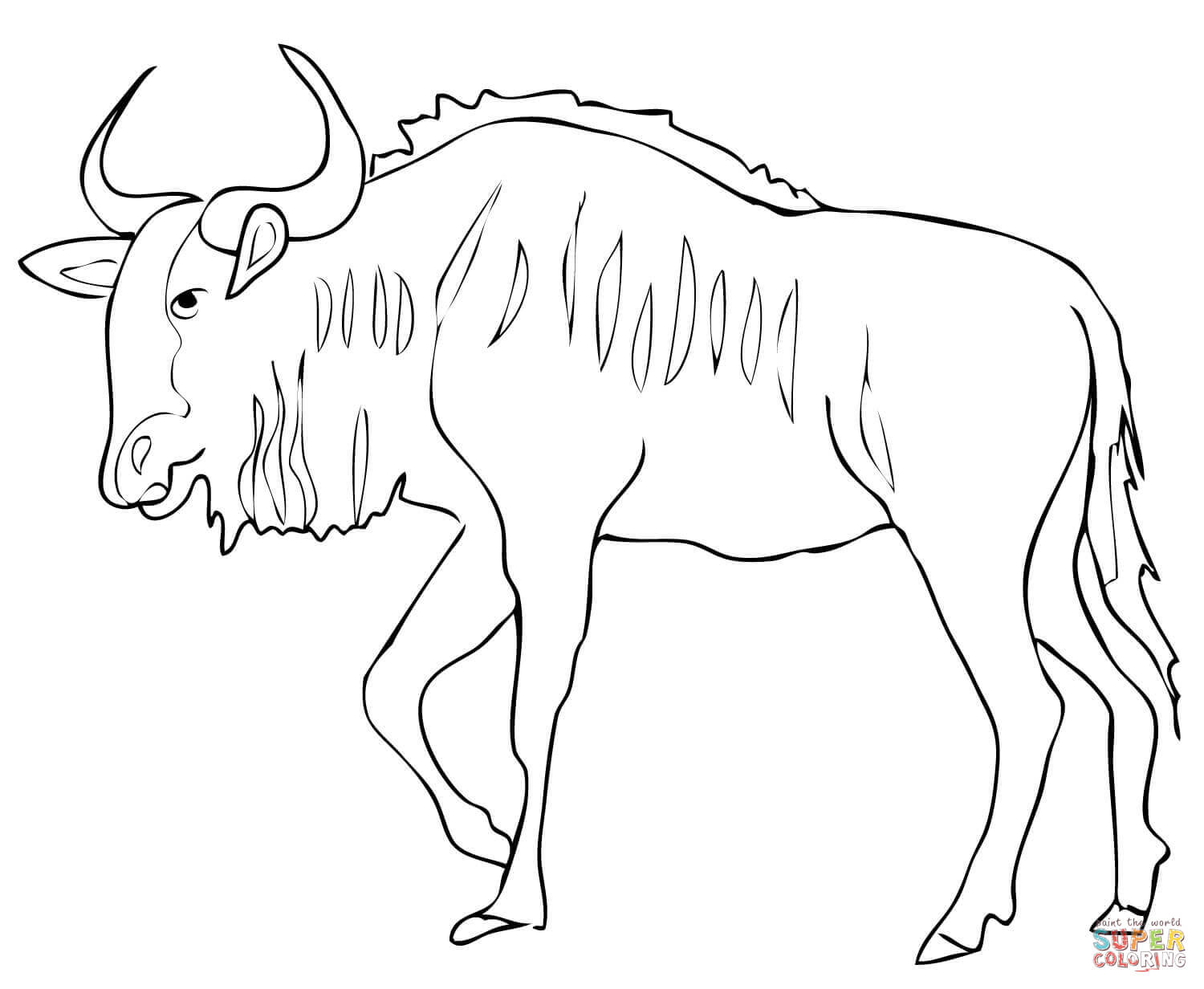 Wildebeest coloring #18, Download drawings