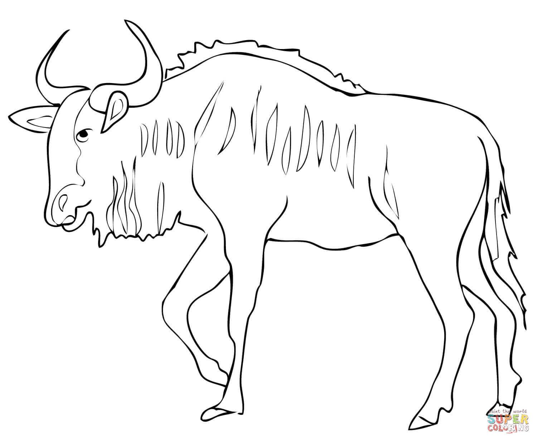 Blue Wildebeest coloring #11, Download drawings