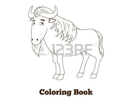 Wildebeest coloring #19, Download drawings