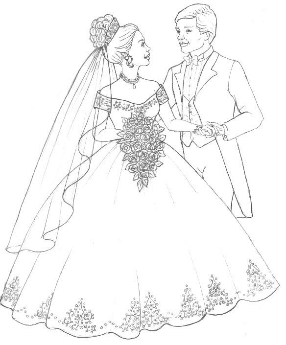 Bride coloring #5, Download drawings