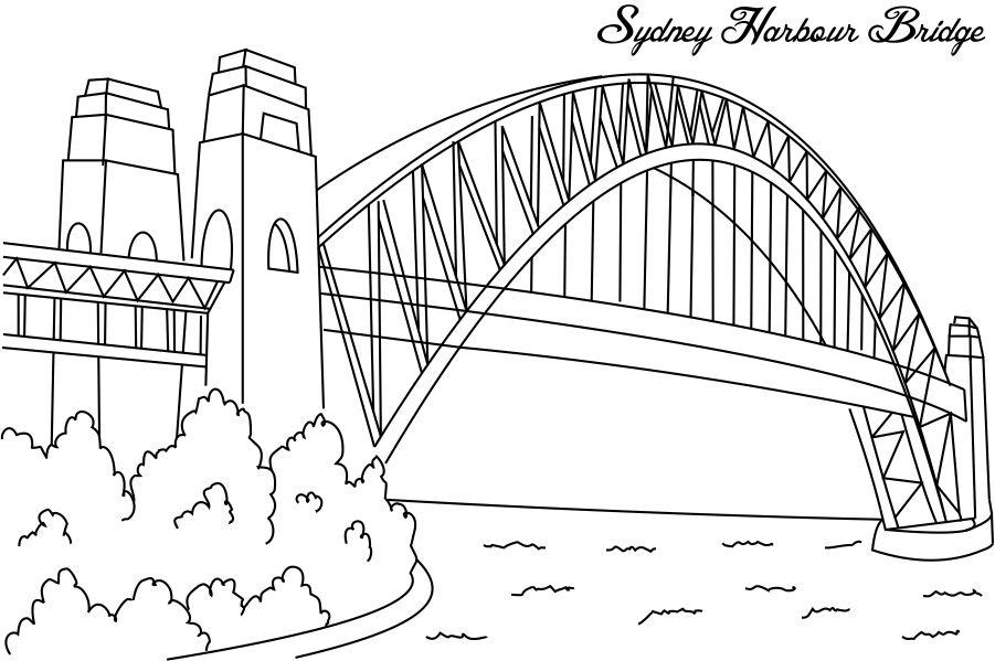 Sydney Harbour Bridge coloring #16, Download drawings
