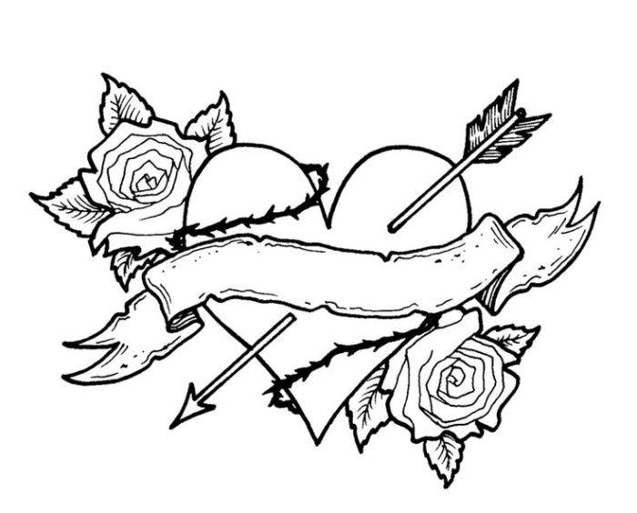 Broken Hearts coloring #5, Download drawings