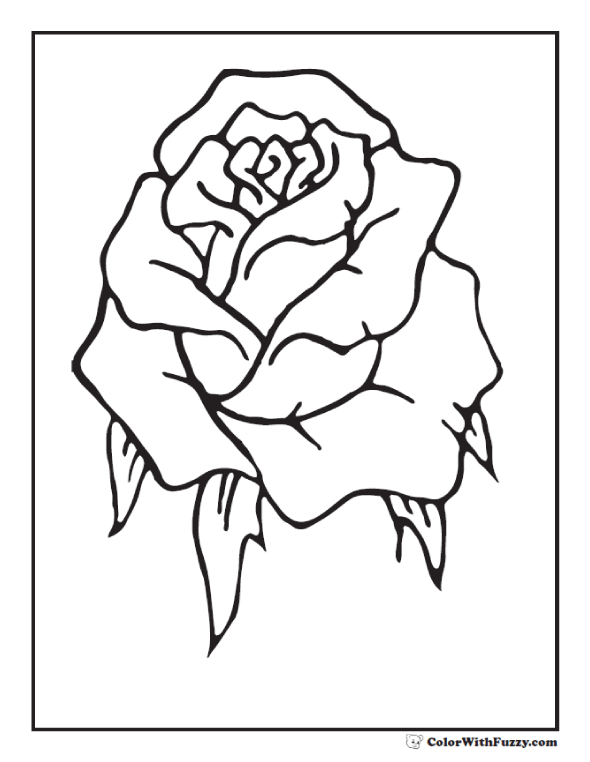 Rosebud coloring #2, Download drawings