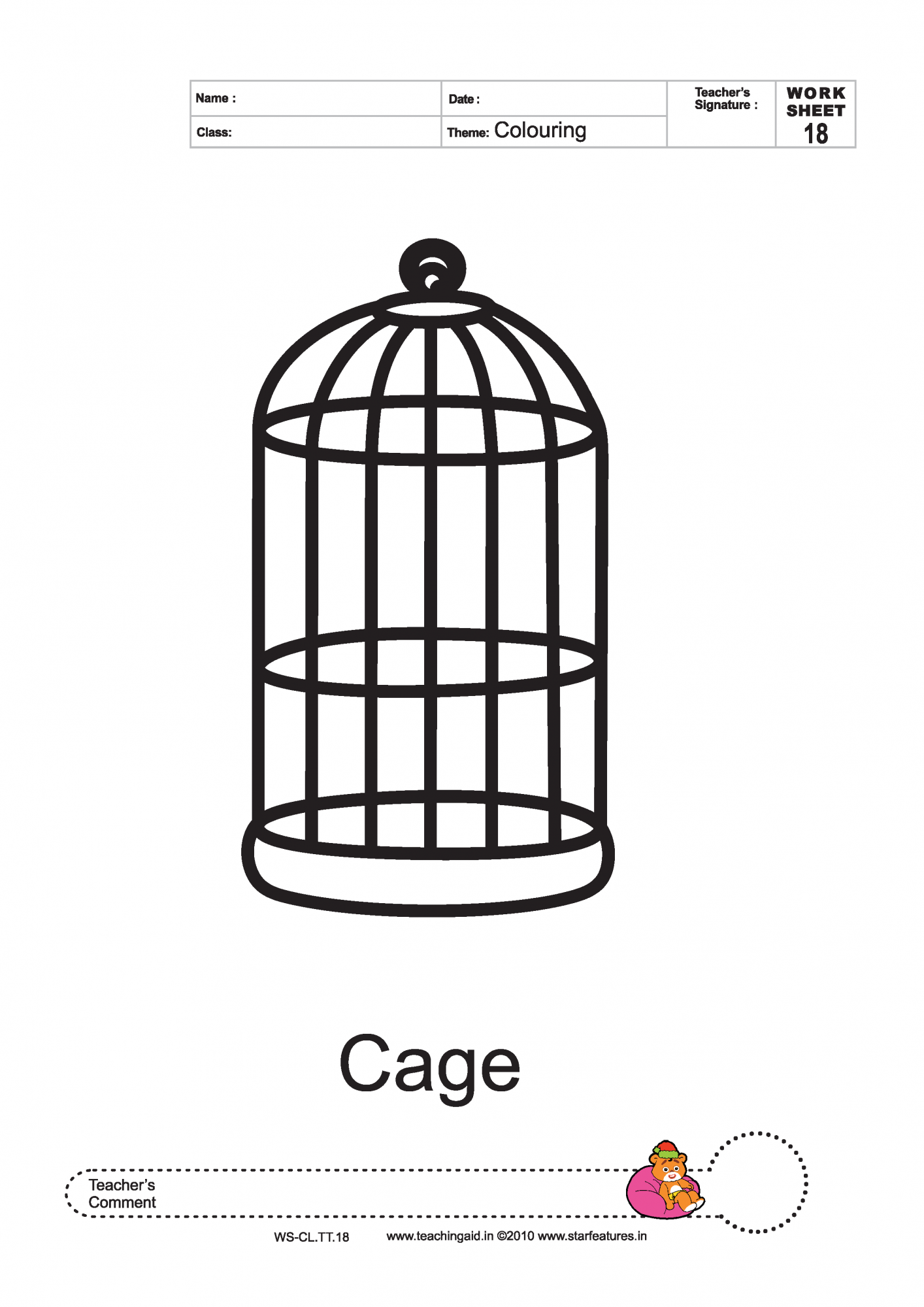 Cage coloring #2, Download drawings