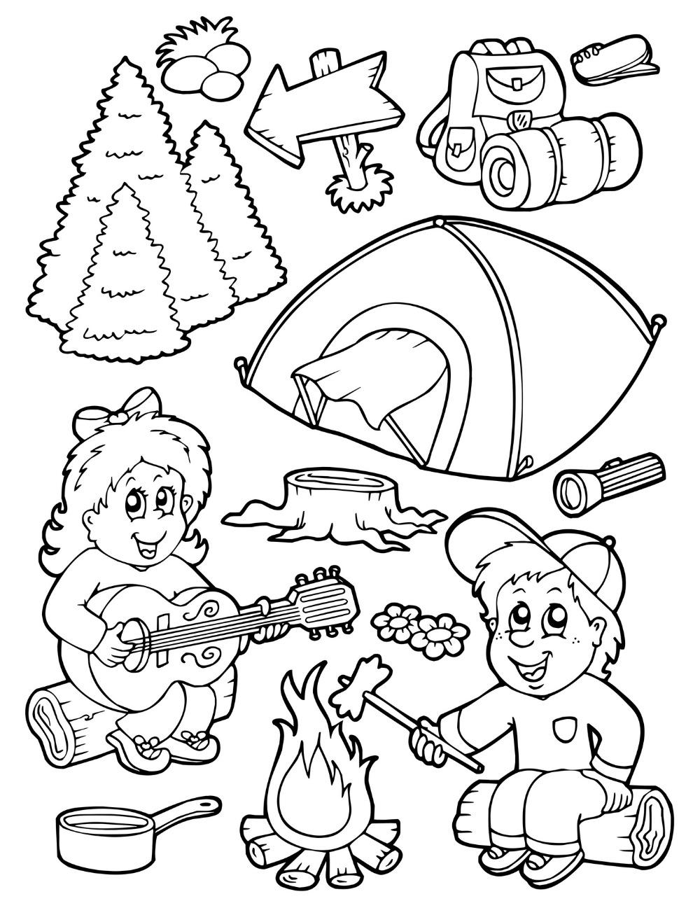 Camp coloring #2, Download drawings
