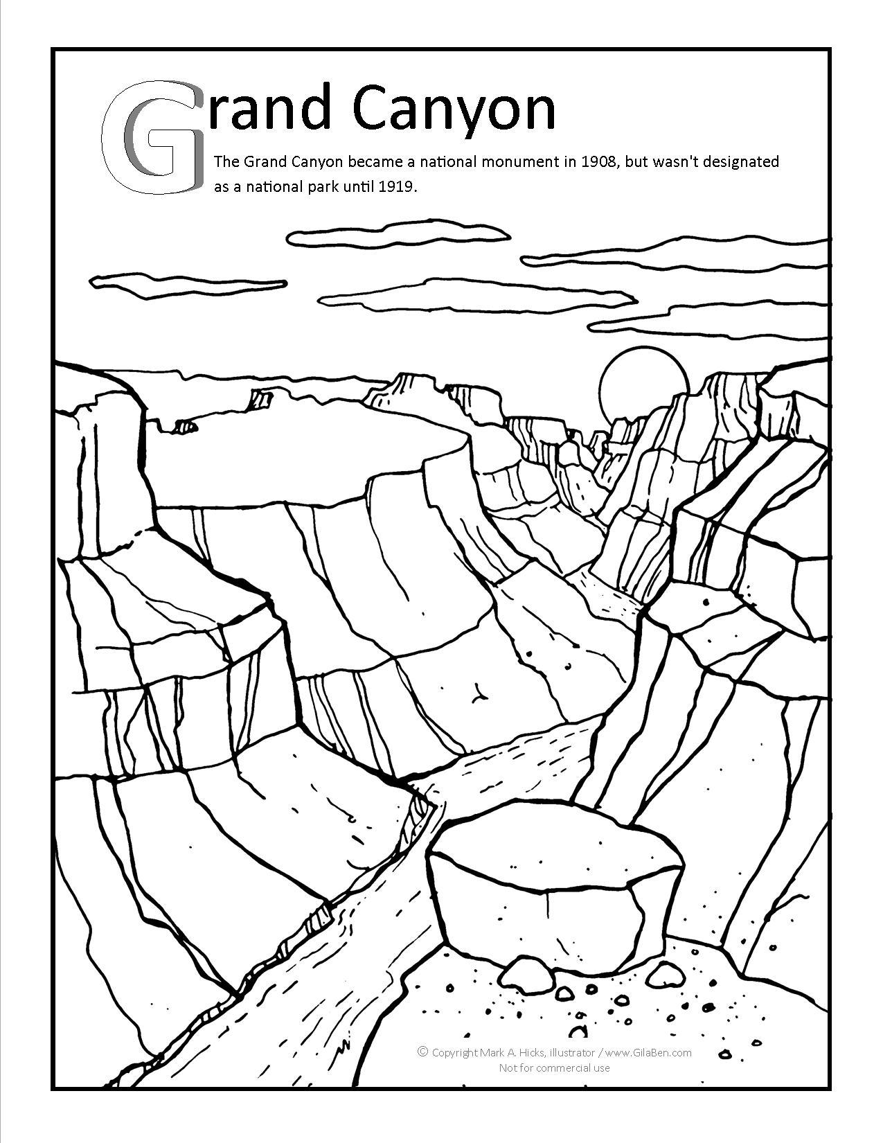 Grand Canyon coloring #15, Download drawings