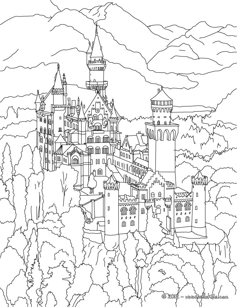 Neuschwanstein Castle coloring #19, Download drawings