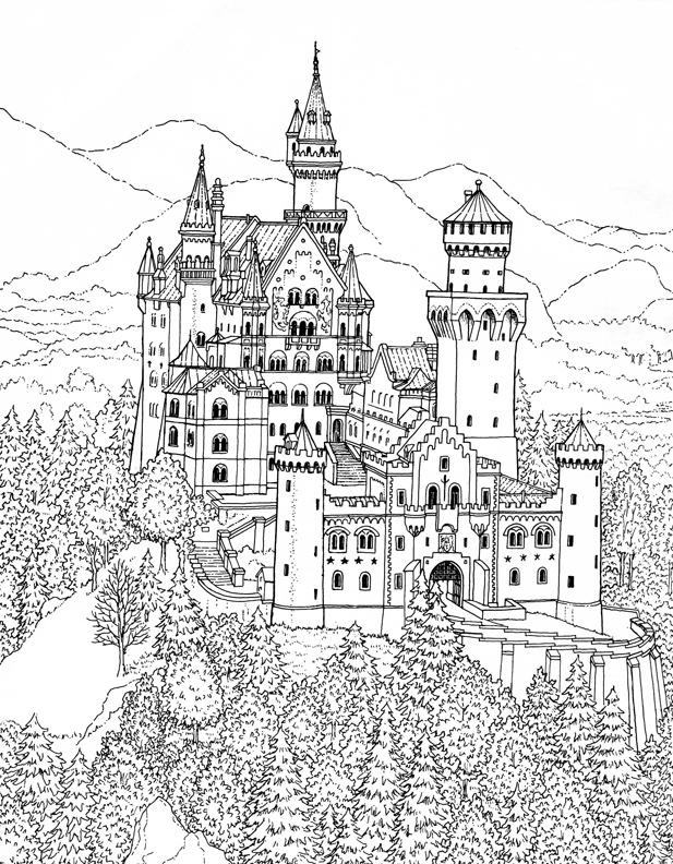 Neuschwanstein Castle coloring #20, Download drawings