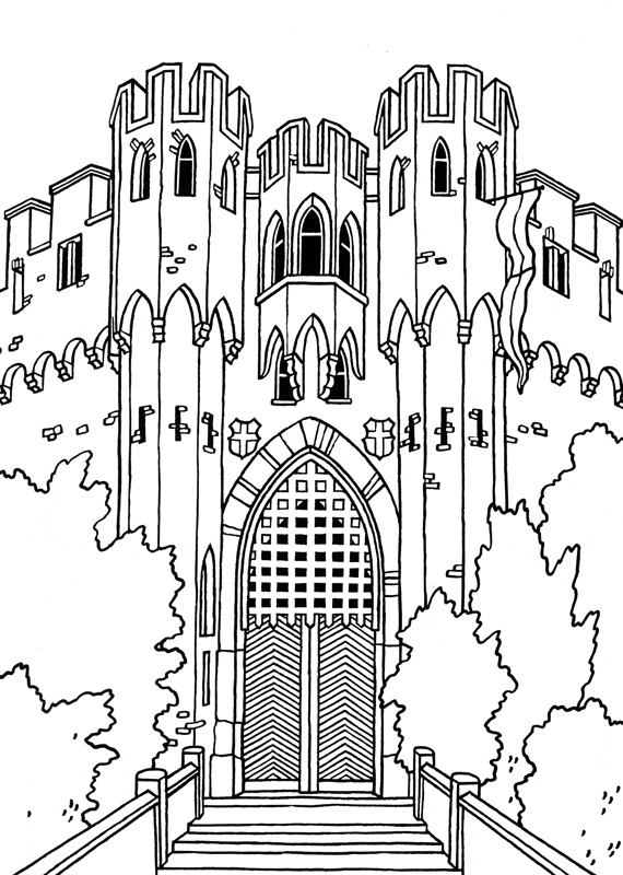 Castle coloring #9, Download drawings