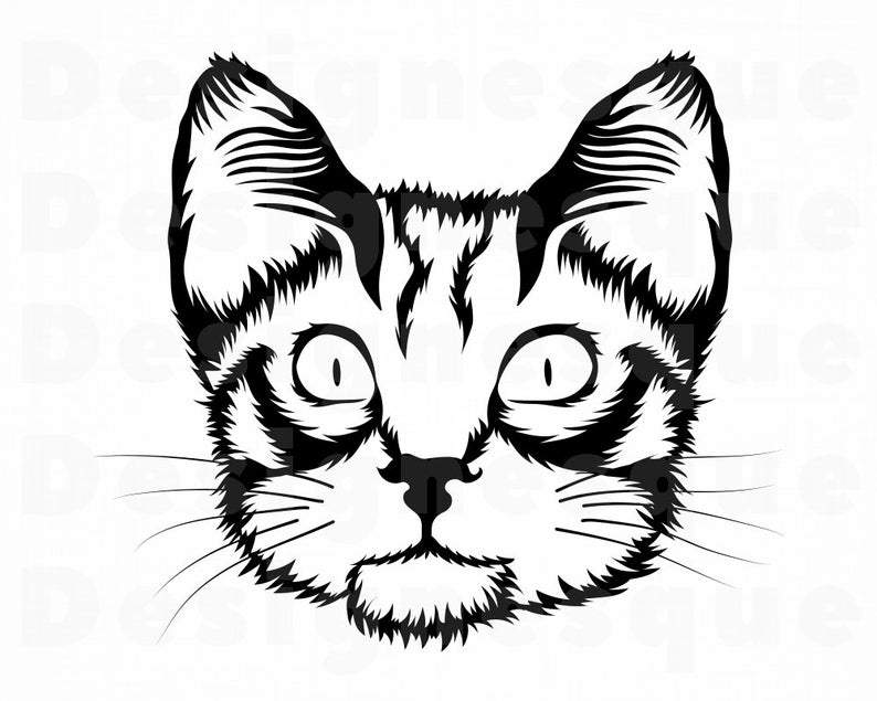 cat head svg #1077, Download drawings