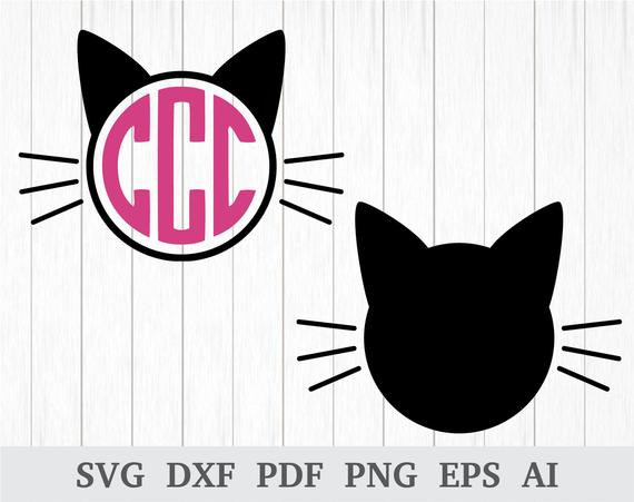 cat head svg #1073, Download drawings