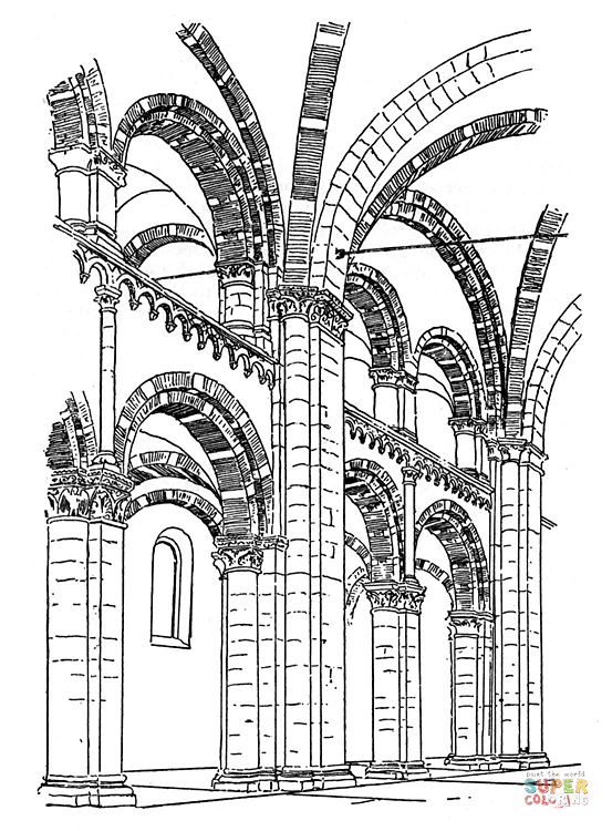 Cathedral coloring #1, Download drawings