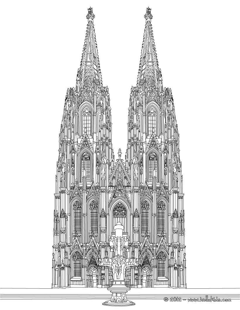 Cathedral coloring #18, Download drawings