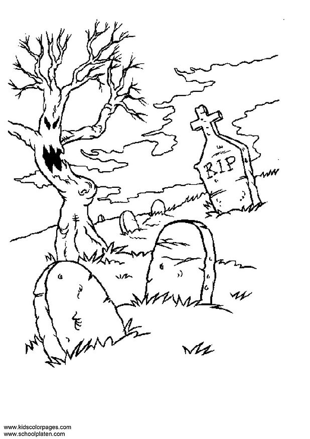 Cemetery coloring #7, Download drawings